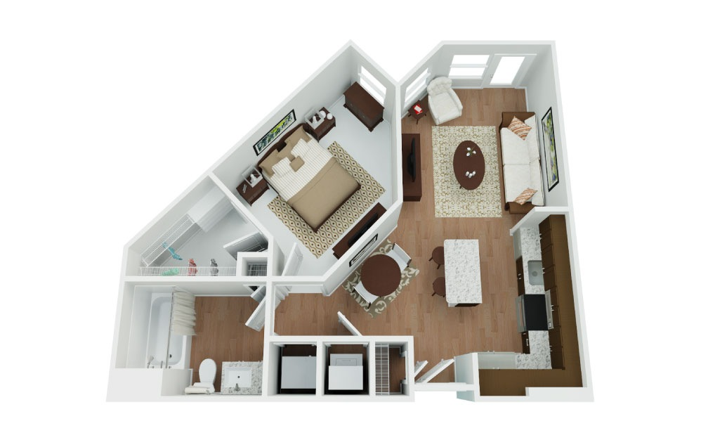 Dart - 1 bedroom floorplan layout with 1 bath and 615 square feet.