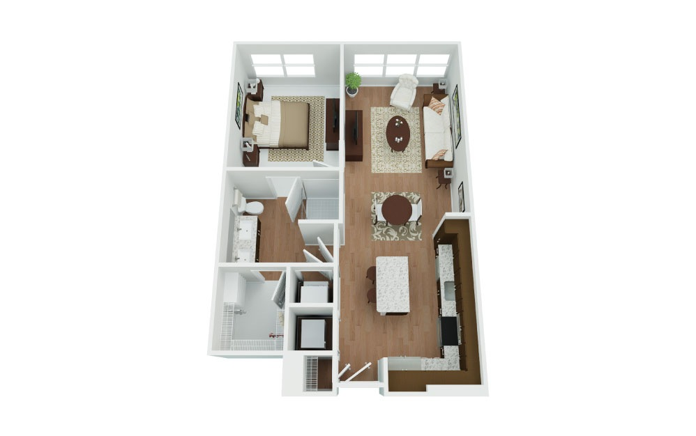 A1M Dakota - 1 bedroom floorplan layout with 1 bath and 689 square feet.