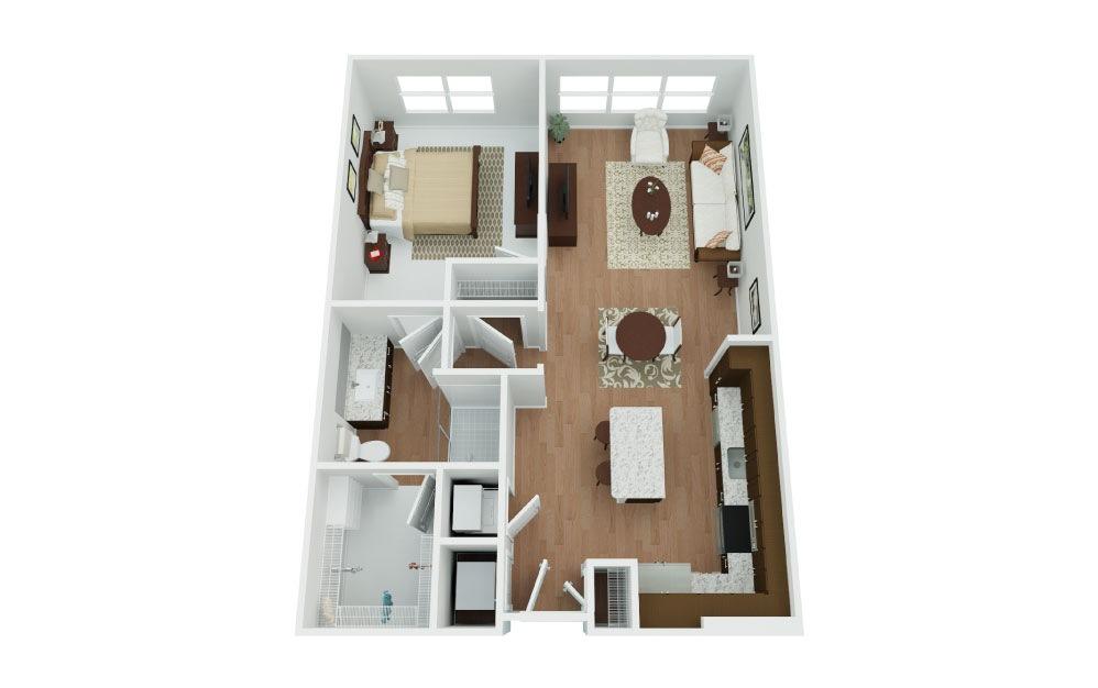 Durango - 1 bedroom floorplan layout with 1 bath and 752 square feet.