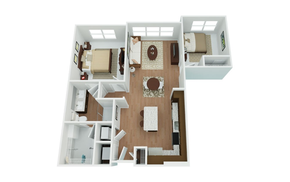 Intrepid w/Den - 1 bedroom floorplan layout with 1 bath and 853 square feet.