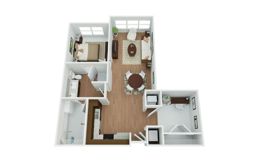 B2 Phoenix w/Den - 1 bedroom floorplan layout with 1 bath and 789 square feet.