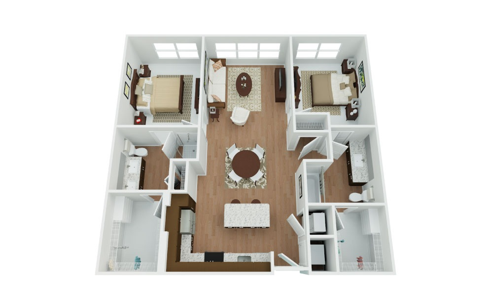 Avenger - 2 bedroom floorplan layout with 2 baths and 1066 square feet.