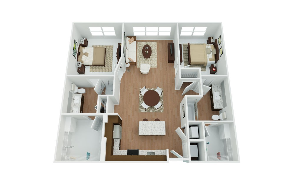 Charger - 2 bedroom floorplan layout with 2 baths and 1108 square feet.