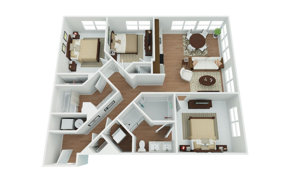 D1 Viper - 3 bedroom floorplan layout with 2 baths and 1127 square feet.